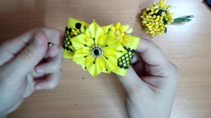 Яркие бантики резинки из лент канзаши МК hair clips ribbon kanzashi DIY