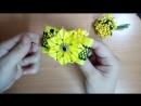 Яркие бантики резинки из лент канзаши МК - hair clips ribbon kanzashi DIY
