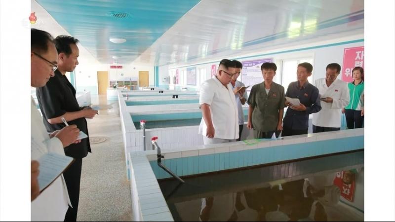 경애하는 최고령도자 김정은동지께서 새로 건설된 연풍호방류어업사업소를 현지지도하시였다
