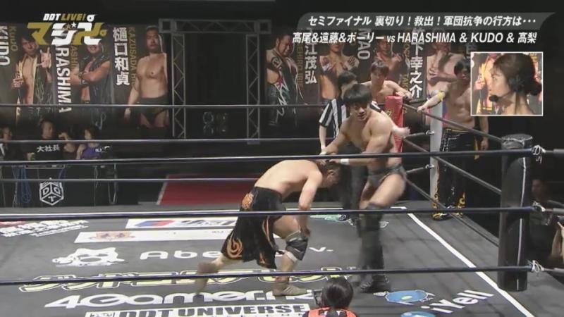 Soma Takao, Tetsuya Endo, Mad Pauly vs. HARASHIMA, KUDO, Masahiro Takanashi (DDT Live! Maji Manji 5)