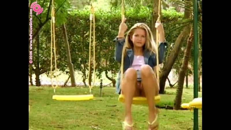 Blonde Country Girl Peeing While Swinging On Her Swing