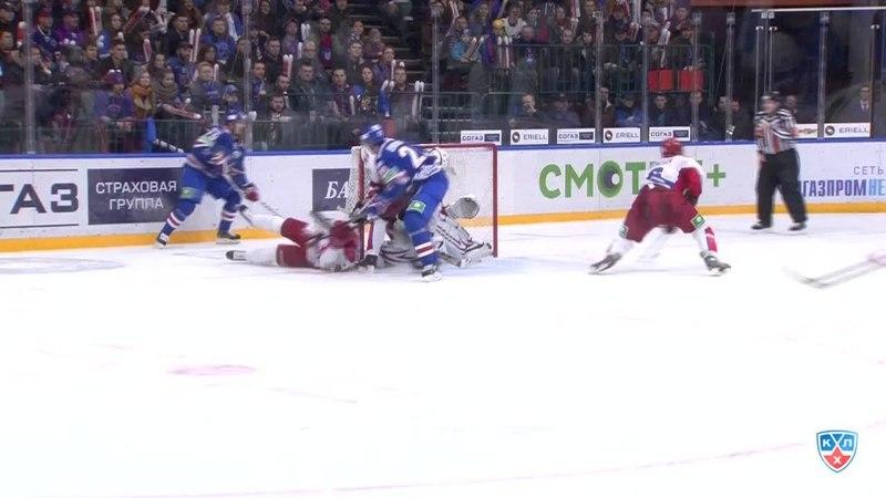 Моменты из матчей КХЛ сезона 14/15 • удаление. Джимми Эрикссон (СКА) удалён на две минуты за атаку игрока, не владеющего шайбой