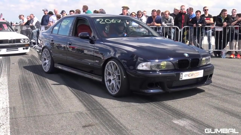 950HP BMW M5 E39 w Supercharger 1 2 Mile Drag Race Accelerations