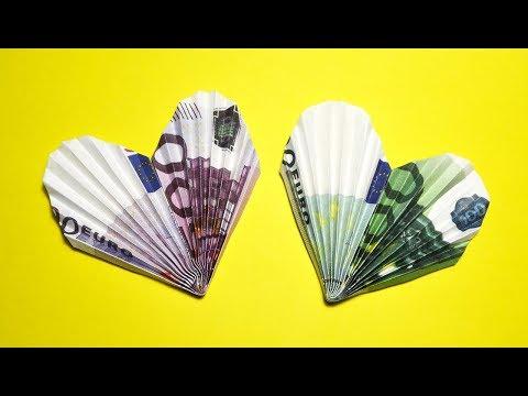 Money HEART out of EURO bill Origami Tutorial DIY Folding