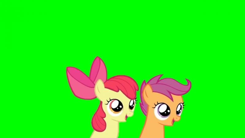 Applebloom and Scootaloo Head Bob Loop - Green Screen Ponies.mp4
