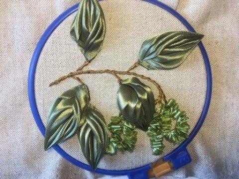 Береза вышитая атласными лентами Birch embroidered satin ribbons