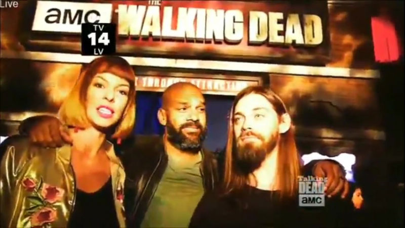 Tom payne, khary payton and pollyanna mcIntosh at universal studios the walking dead attraction