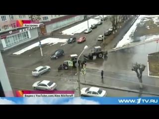 Новости 1 канал. 13.04.2016. Об уборке луж в Костроме