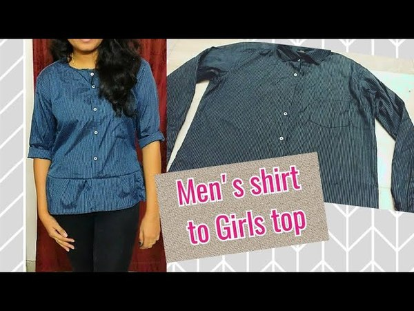 DIY Men's shirt to Girl's top how to make girl's top from old mens shirt Purple fly