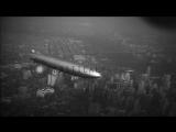 Zeppelin Dirigible LZ 129 Hindenburg in flight over Manhattan Island, New York Ci...HD Stock Footage