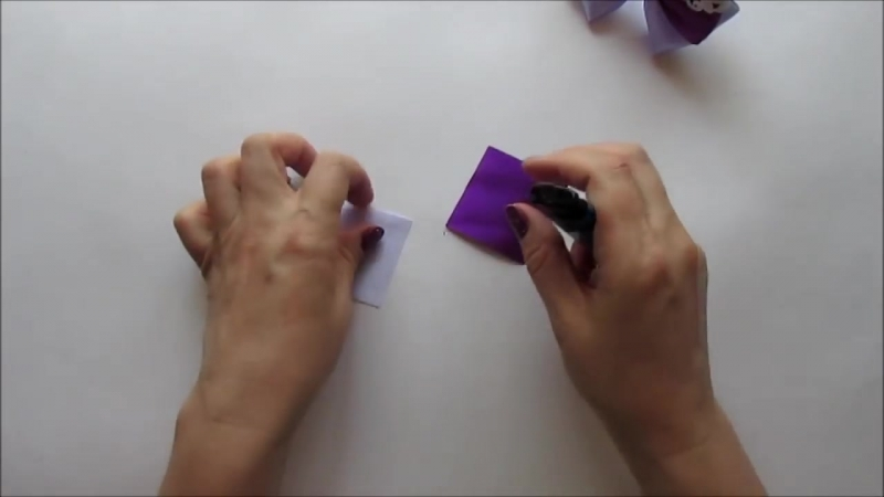 Бантик из атласных лент школьный вариант. Канзаши _МК_Hand мade_DIY_ Kanzashi