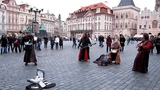 Prague buskers play folk metal with bagpipe