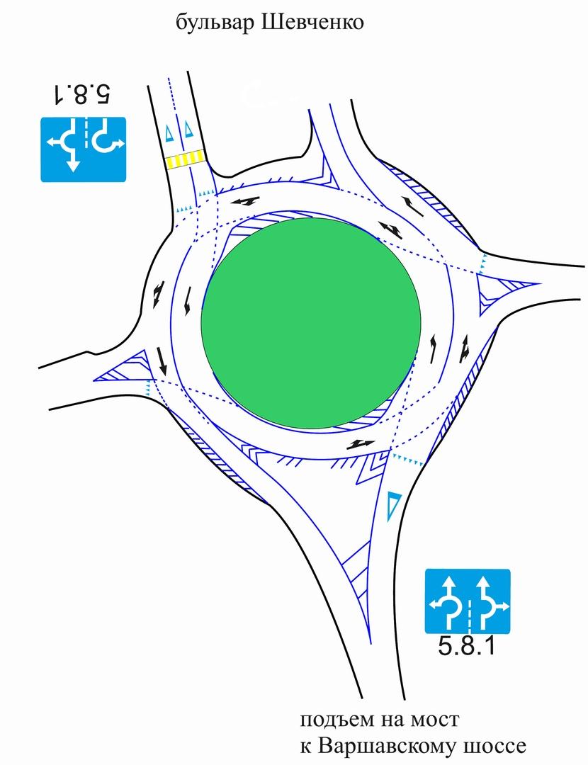 В ближайшее время изменится разметка на кольце бульвара Шевченко. Как будем ездить?