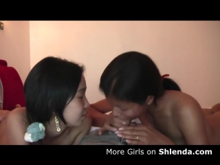 Two young petite skinny asian teens blowjob for whit dad. Philipino or Thai