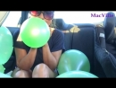MacVille - Metallic Green Balloons - Blowing and Playing with Ten Balloons in the Car