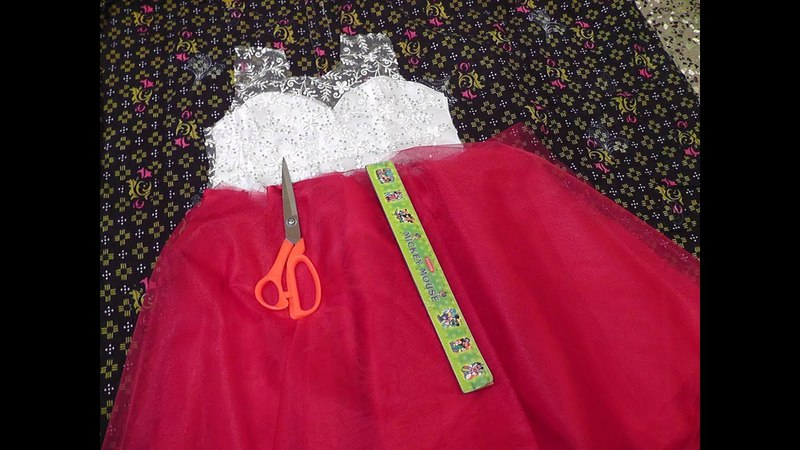 KIDS PRINCESS CUT FANCY PARTY WEAR NET FROCK CUTTING AND STITCHING PART - 1