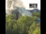 Догорает здание на территории воинской части