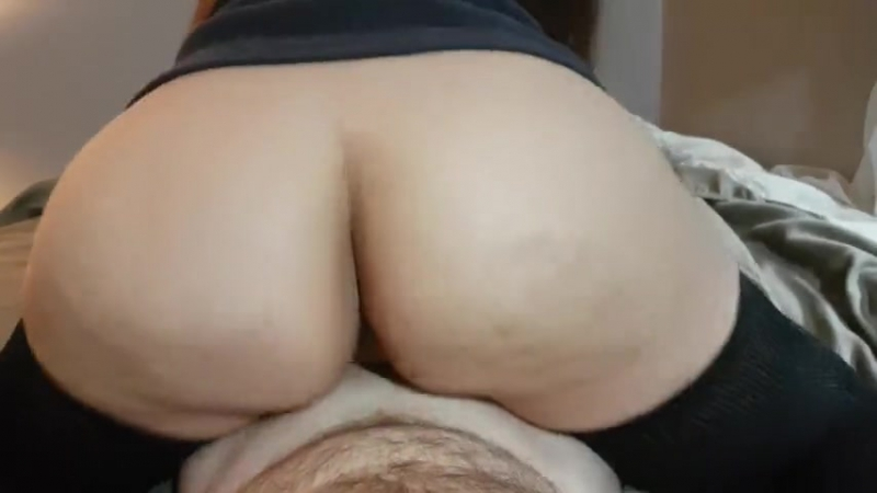 REVERSE COWGIRL WITH THIGH HIGH SOCKS HAS EXPLOSIVE ORGASM AND CUM IN PUSSY big ass butts booty tits boobs