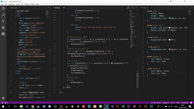 Coding Challenge _ The Snake Game _ Creating A Game In JavaScript and jQuery _ Timelapse _ mmtuts