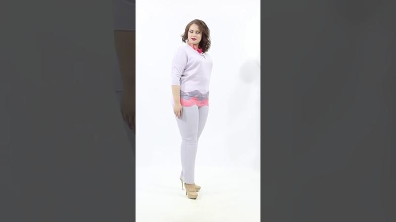 Восхитительная блуза М4-3633/1 полуприлегающего силуэта из трикотажного полотна серого цвета
