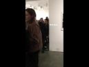 Kristen Stewart talking to Irina Yelchin (Anton Yelchin's mother) at Anton Yelchin: Provocative Beauty exhibit in NY