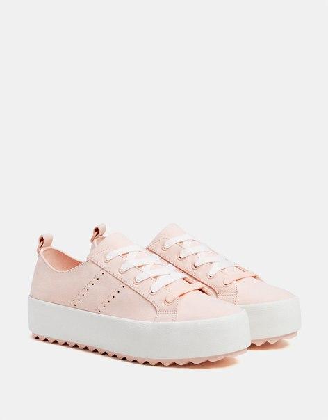 Розовые кеды на платформе