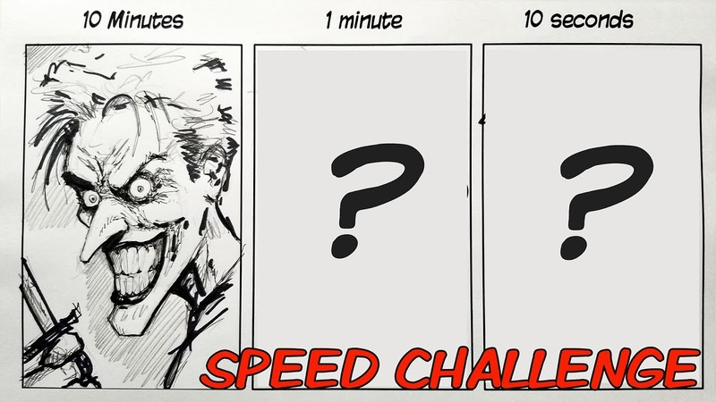 SPEED CHALLENGE: 10 Minutes | 1 Minute | 10 Seconds - Drawing THE JOKER