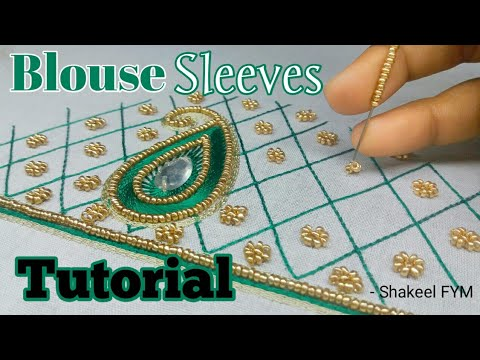 Blouse Sleeve Aari Work Tutorial | Blouse Design | aari work sleeves design