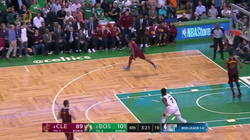 LeBron James with one of the days best blocks