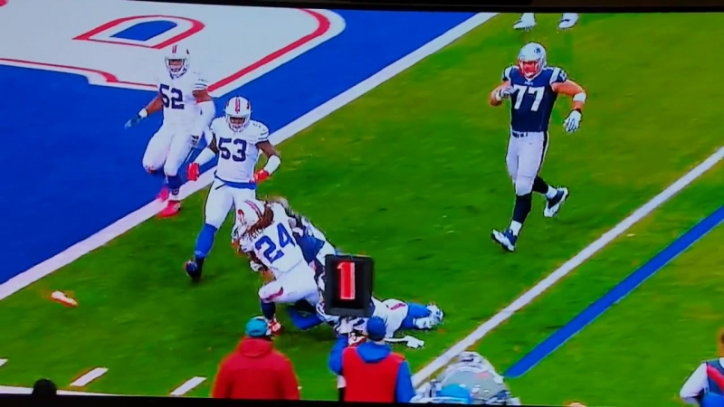 Fan throws dildo on the field during Bills, Patriots football game.