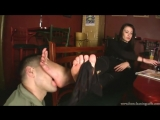 Foot Cleaning Cafe beautiful Russian girl stinky black nylons worship