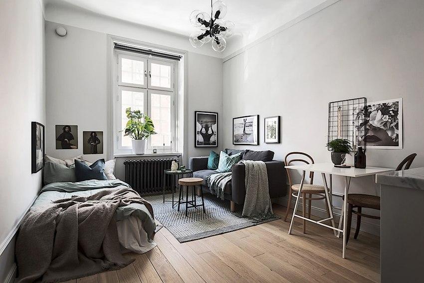 Малогабаритная скандинавская квартира-студия 20 м.