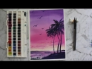 Watercolor Painting Pastel Sunset
