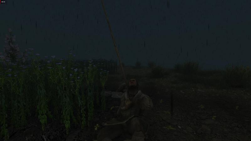Отдыхает под моросящим дождиком