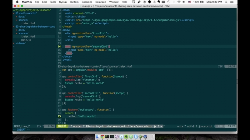 Angular - 3 - Обмен данными между контроллерами