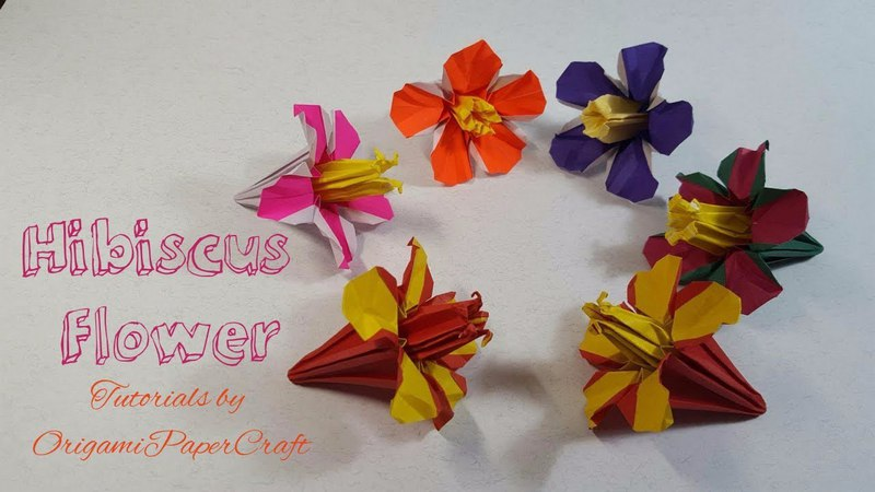 How To Make Origami Hibiscus Flower 🌺(Hoa Dâm Bụt ) Tutorials by OrigamiPaperCraft