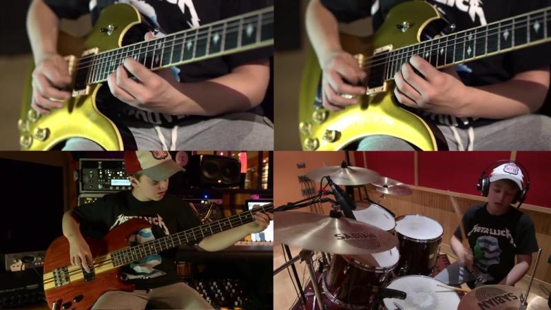 13 летний пацан играет композиции Металлик