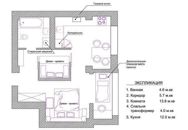 Перепланировка однокомнатной квартиры для семьи из трех человек