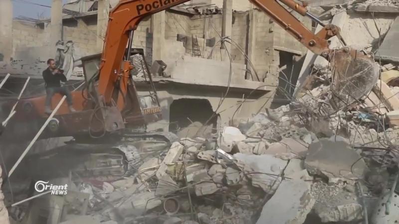 Сирия 09.01.18: постановка бармалеев-белокасочников после авиаударов ВВС САР в г. Хамурия, восточная Гута.