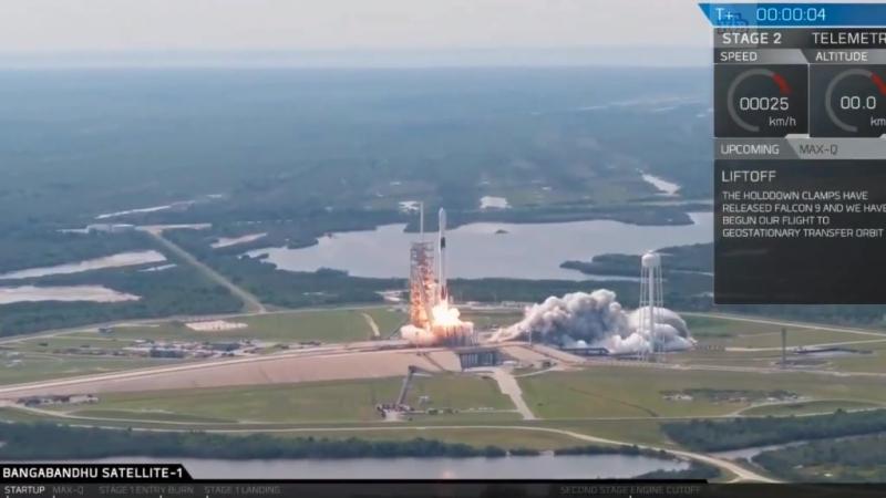 SpaceX запустила ракету Falcon 9 со спутником связи Бангладеш и успешно вернула новый разгонный блок