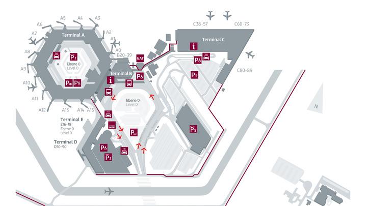 Схема аэропорта Тегель с указанием автобусных остановок