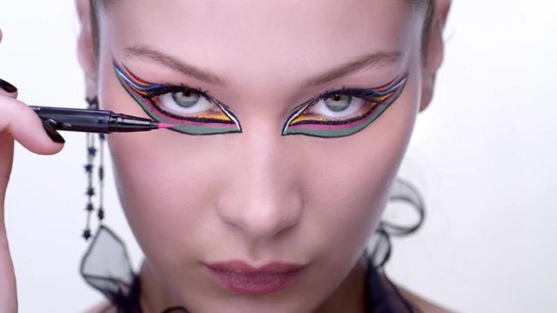 Рекламная кампания «Dior Makeup» цветные тушь «Diorshow PumpNVolume Mascara» и подводка «Diorshow On Stage» (2018)