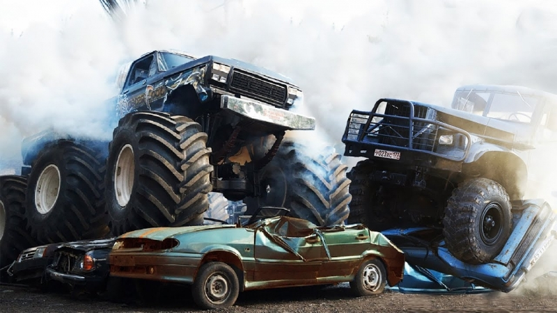 [Review Machines] Битва тяжеловесов! КрАЗ, Ураган, танки, бигфуты! Лютый треш!