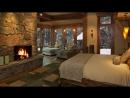 2 часа расслабляющая атмосфера красивый снег с ветром и камином треск пихты