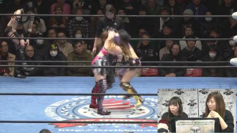 Hamuko Hoshi, Matsuya Uno, Mochi Miyagi vs. Makoto, Maya Yukihi, Tequila Saya (Ice Ribbon - RibbonMania 2017)