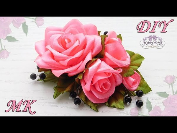 🌹 РОЗЫ ИЗ ЛЕНТ. Украшение на заколку, гребешок. DIY Ribbon Roses