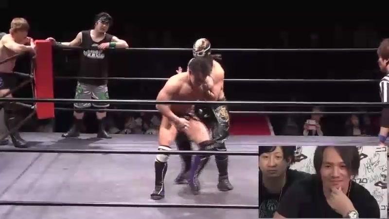 Masamune, Yasu Urano, Kazuki Hashimoto vs. Kyu Mogami, Mitsumu Takeda, Akiyori Takizawa (J-Stage 10th)
