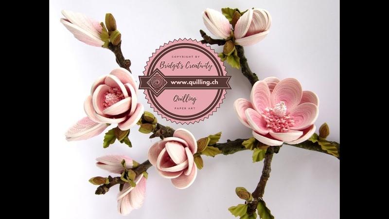 Quilling flowers 3D Tulip-Magnolia (Tutorial)