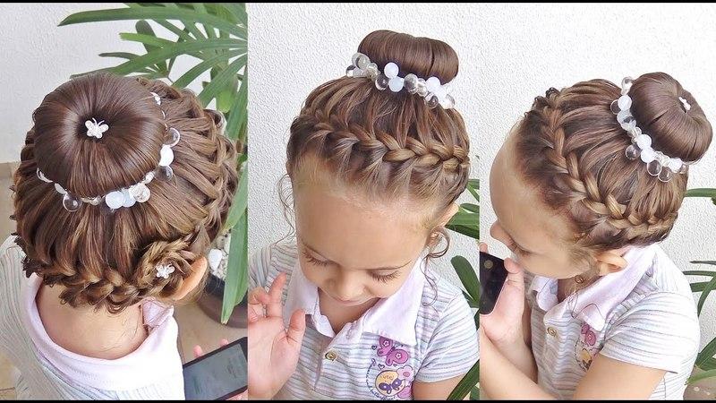 Penteado Infantil com arco trançado, coque e flor de cabelo