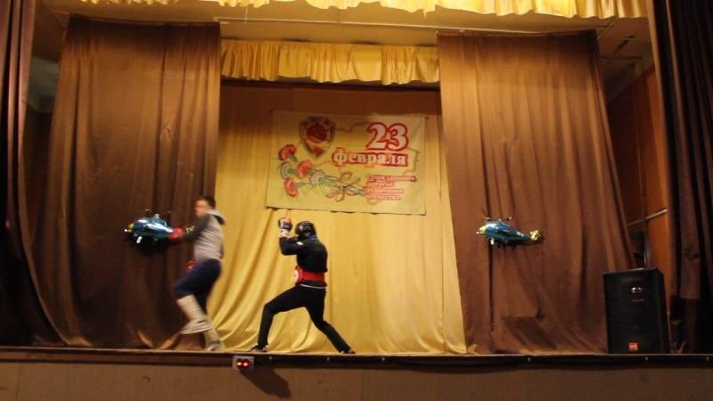 концерт к 23 февраля Выступление ребят занимающихся единоборствами.